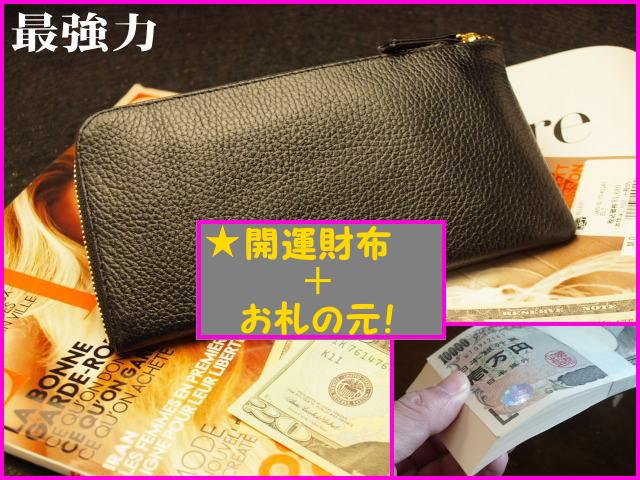 黒の開運財布とお札の元のセット