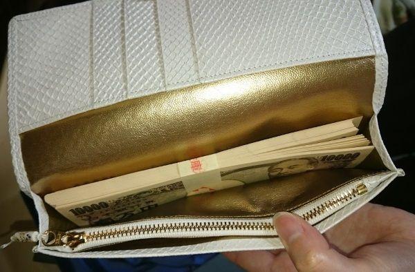財布屋の白蛇財布に100万円の束を入れてみた