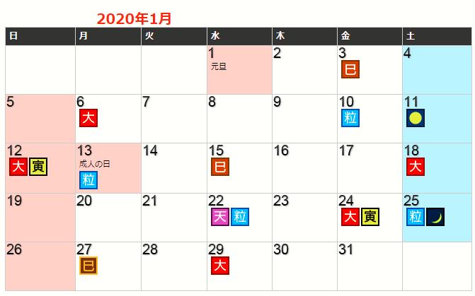 令和2年正月の開運日一覧